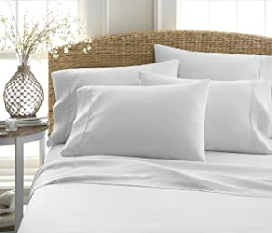 Becky Cameron Luxury Soft Deluxe Hotel Quality 6 Piece Bed Sheet Set, California, King, Light Gray