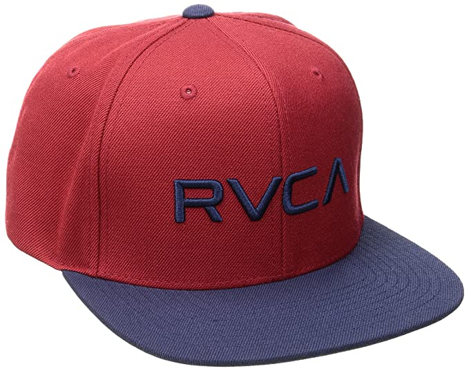 new product 7e5f9 588d5 RVCA Men s Twill Snapback Hat, Red Navy, One Size
