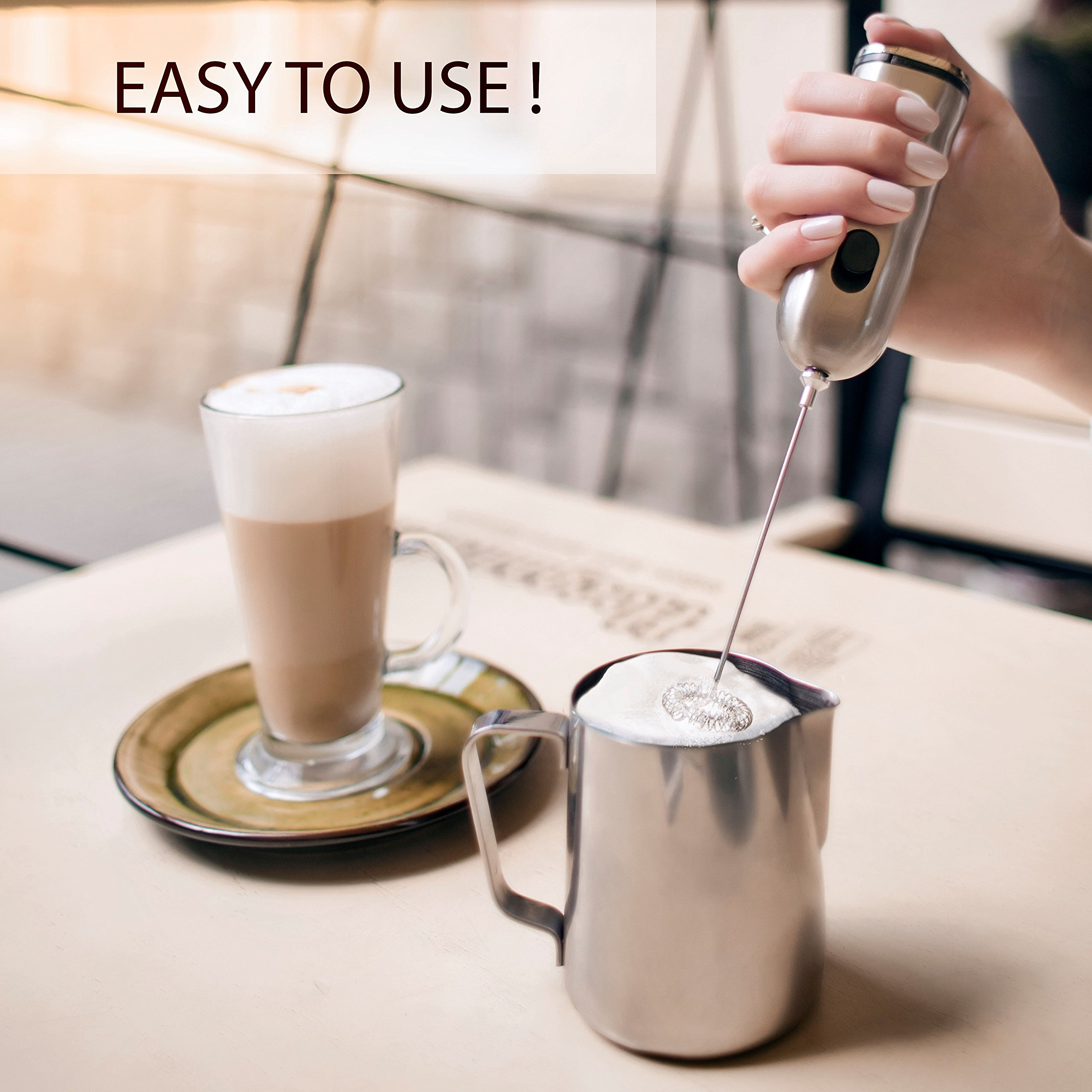 HBT Milk Frother Mixer Handheld Espresso Stirrers - Frothing Wand Battery Operated Electric Foam Maker for Coffee|Latte|Cappuccino|Hot Chocolate - Home Gifts Stainless Steel with Free Spoon|Ebook by HBT (Image #2)