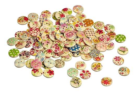 62 opinioni per TRIXES 100 bottoni colorati assortiti floreali , tessuto a quadretti, a pois