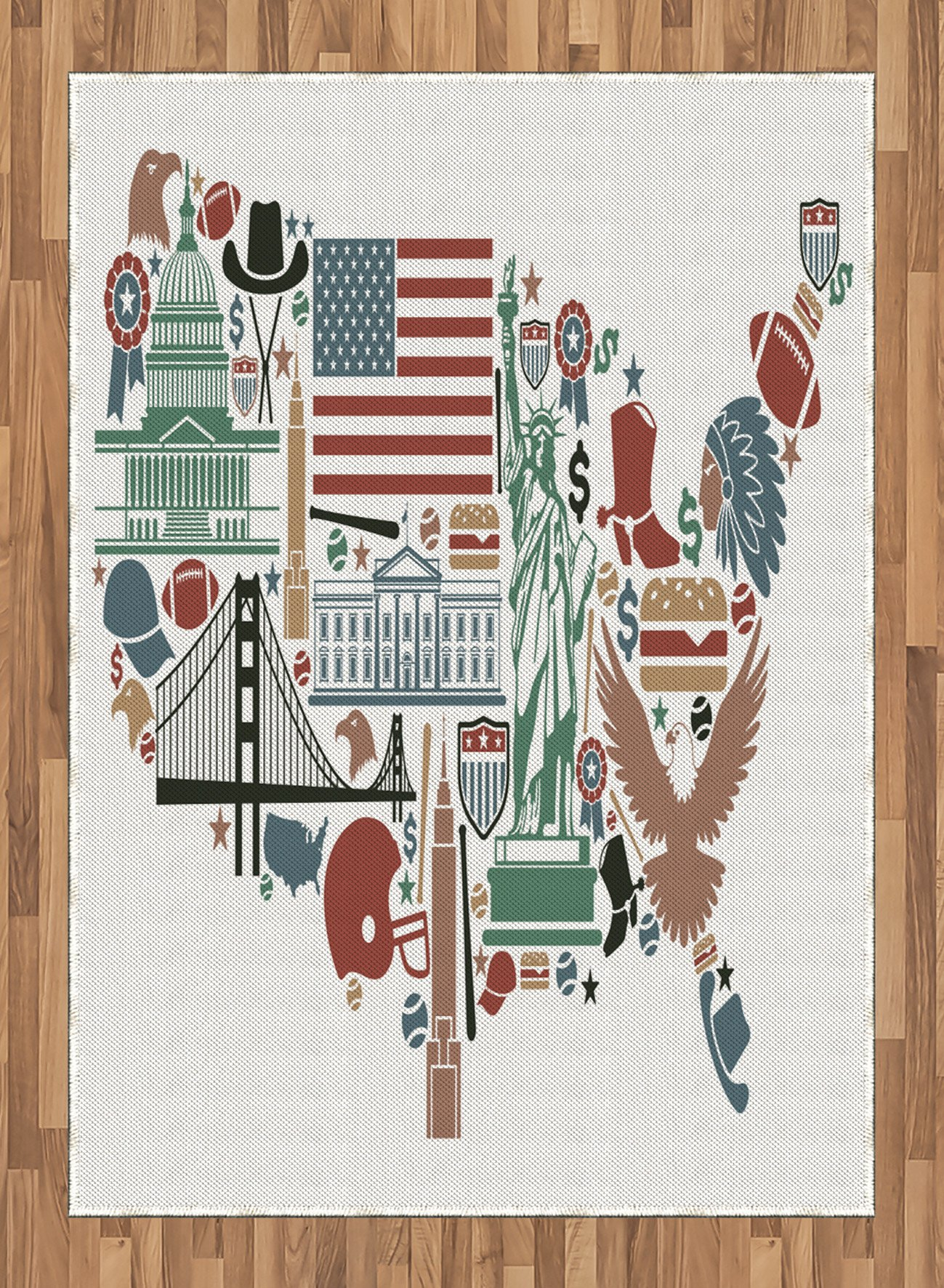 Map Area Rug by Ambesonne, Traditional Symbols in The Form of United States of America Map Travel Landmarks Flag, Flat Woven Accent Rug for Living Room Bedroom Dining Room, 5.2 x 7.5 FT, Multicolor by Ambesonne