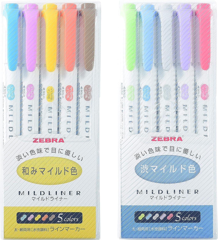 Zebra Mildliner Double-Sided Highlighter Mild Gray Ink Color Sticky Notes Value Set 5-pack