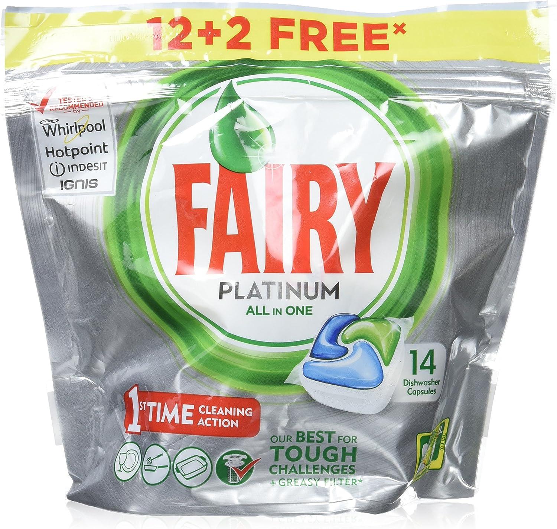 Fairy Platinum Original - Cápsulas de Lavavajillas - Pack de 14 ...