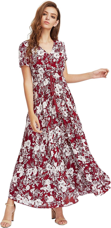 Milumia Womens Button Up Split Floral Print Flowy Party Maxi Dress