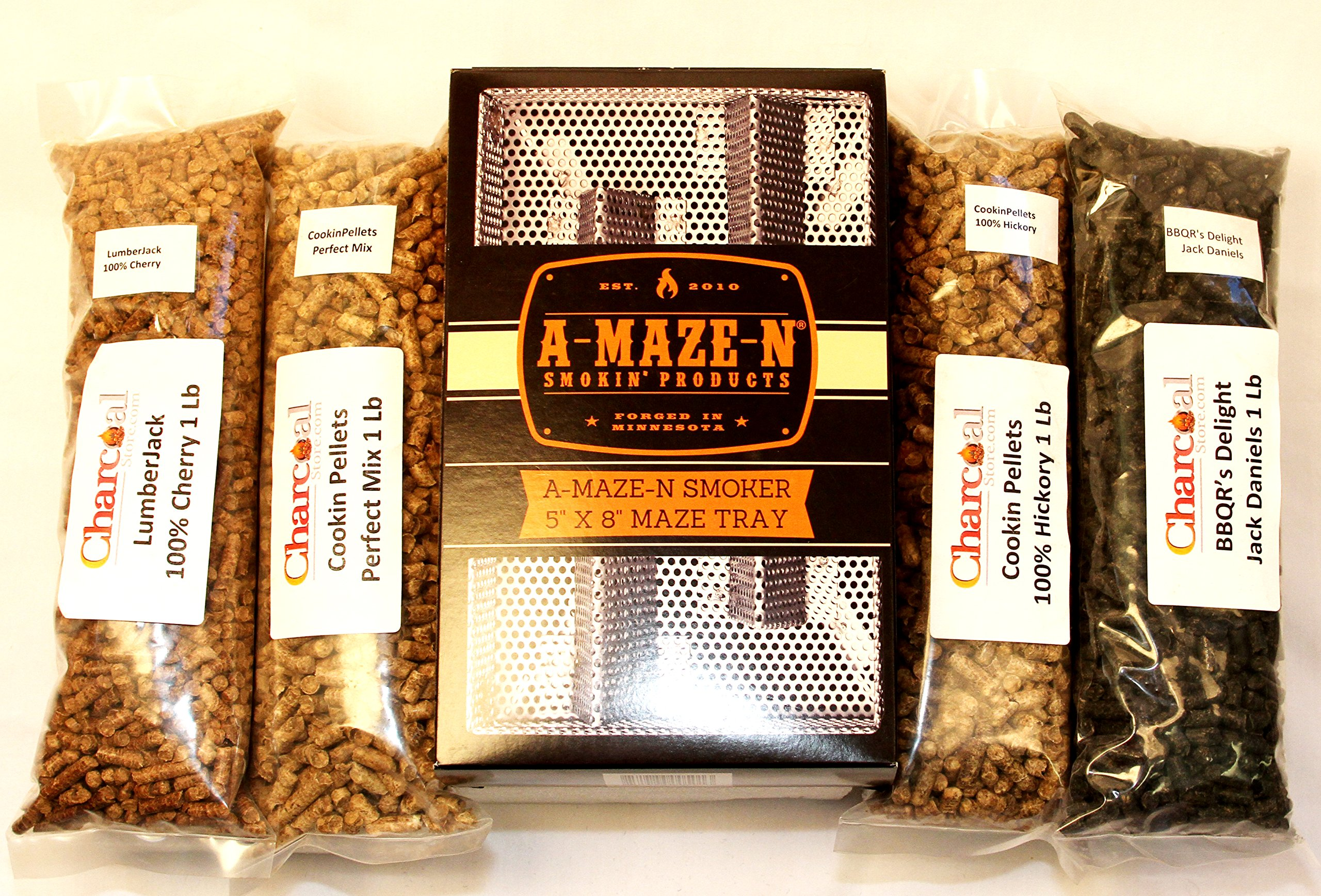 A-MAZE-N Pellet Smoker 5x8 Combo Pack Includes 1 pound ea of Cookin Pellets Perfect Mix, 100% Hickory, 1 Lb BBQR's Delight Jack Daniels and 1 Lb Lumber Jack 100% Cherry by CharcoalStore