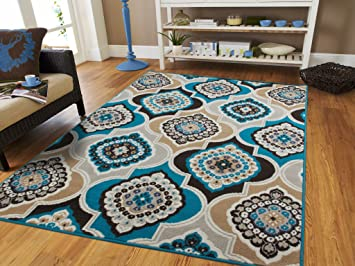 Century Home Goods Collection Panal And Diamonds Area Rug Beige, Navy, Coral  Blue,