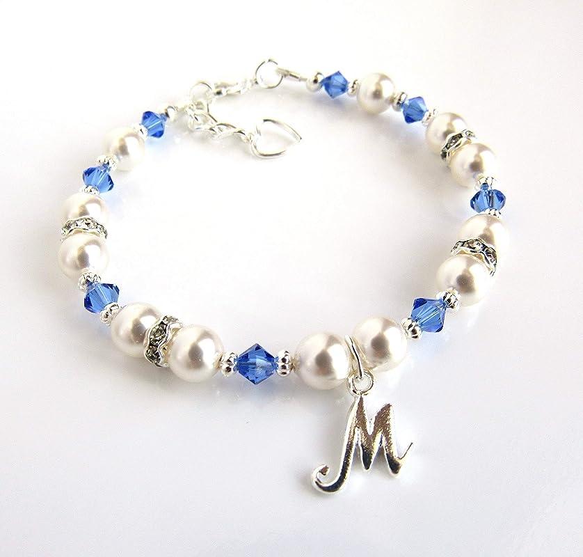 Sterling Silver Initial /& Birthstone Charm Bracelet