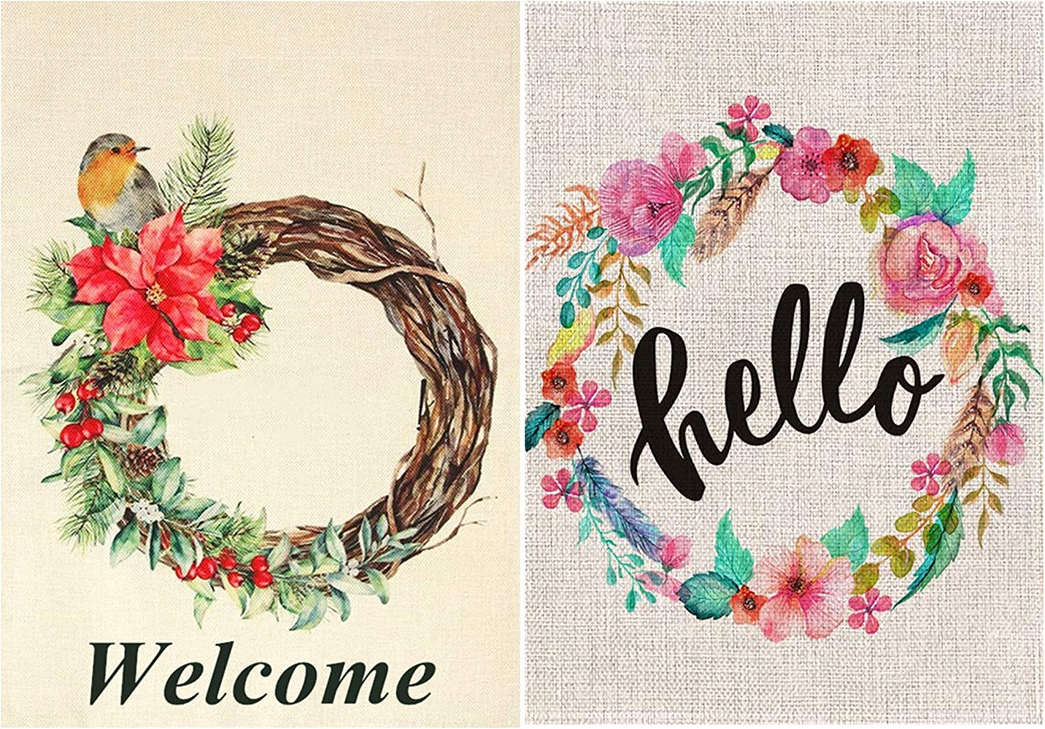 TGAUTO Boxwood Wreath Seasonal Garden Flags Merry Christmas, Hello Floral Wreath Garden Flag Vertical Double Sided Easter Spring Summer Welcome Yard Decor 12.5 x 18 (2 Pack)
