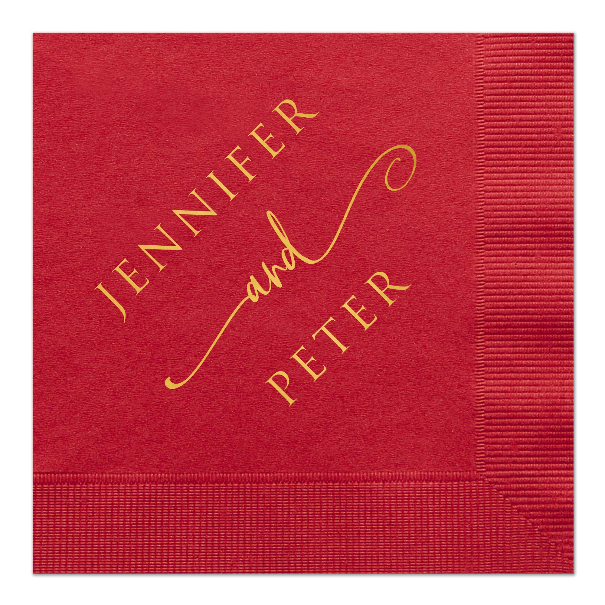 Classic Wedding Napkin with Bride and Grooms Names, set of 100