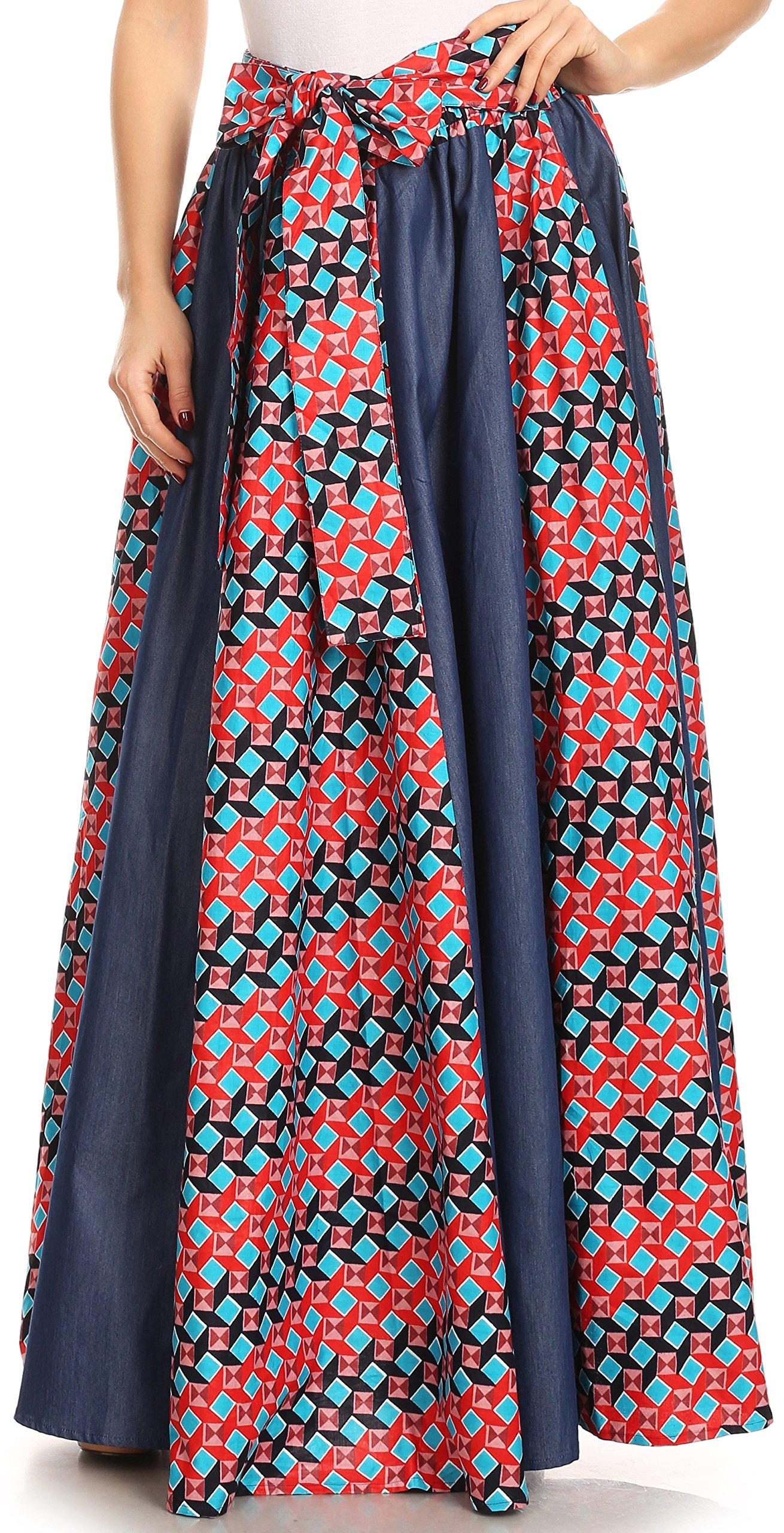 Sakkas W17617 - Monifa Long Maxi Skirt colorful Ankara Wax Dutch African Skirt Gorgeous - 2293 Red/Turq-Tile - OS