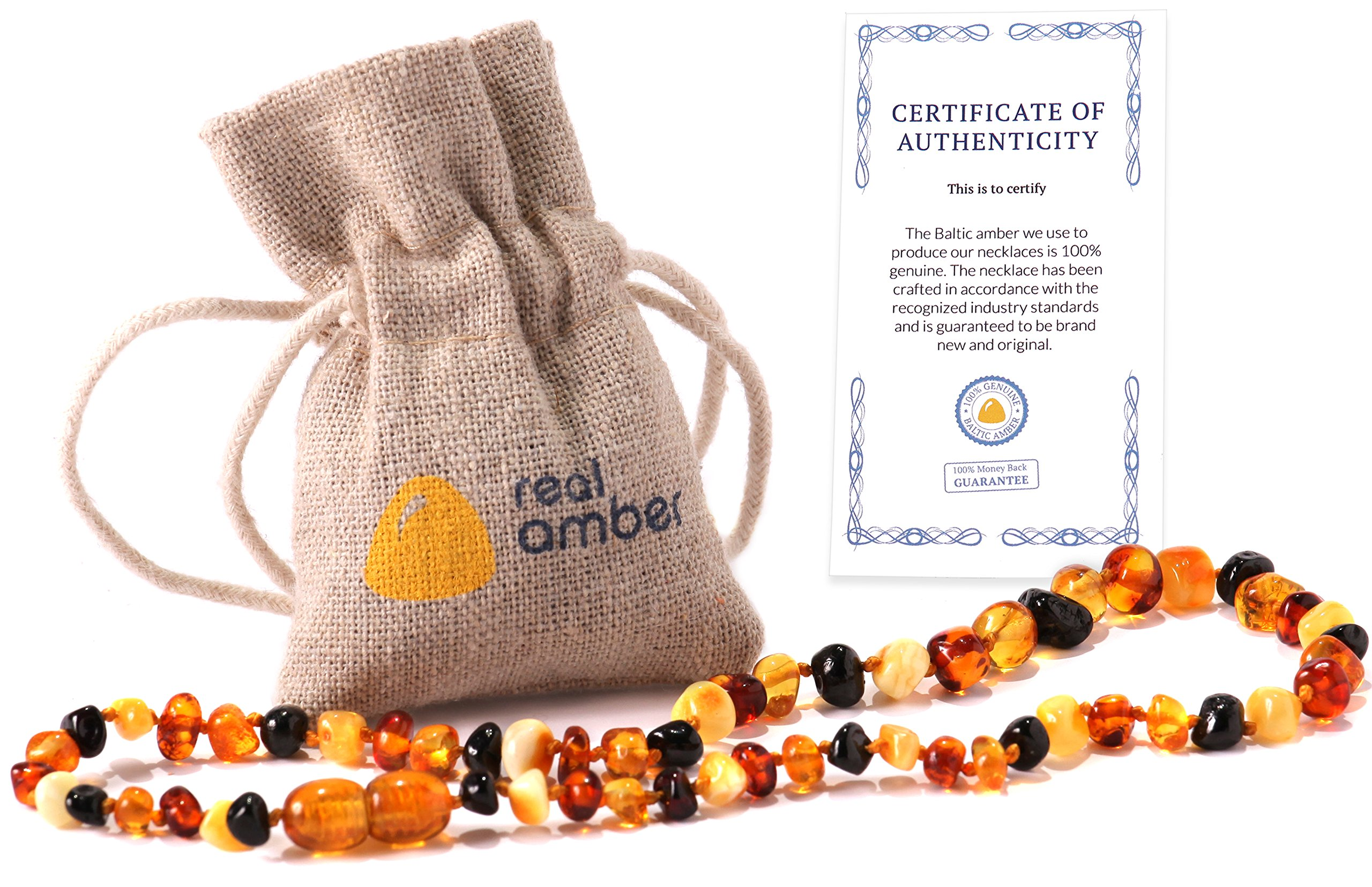 Real Baltic Amber Teething Necklace | Natural Tooth & Gum Anti-Inflammatory Jewelry for Babies and Toddlers | Helps Sooth Drooling & Teething Pain | Girls & Boys (Multicolor)