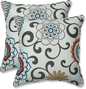 """Pillow Perfect Outdoor/Indoor Pom Play Peachtini Throw Pillows, 18.5"""" x 18.5"""", Blue, 2 Count"""