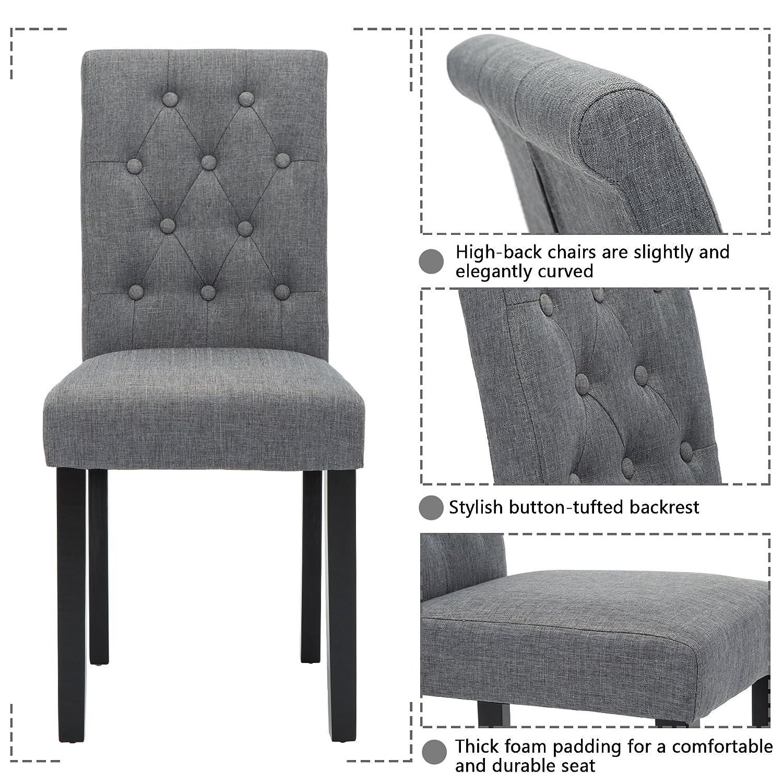 Amazon.com: Juego de 2 sillas de comedor tapizadas con ...