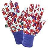 West Chester Miracle-Gro MG64000 Heavy Duty Canvas Chore Work Gloves: White/Floral Print, Women's One Size Fits Most, 1 Pair
