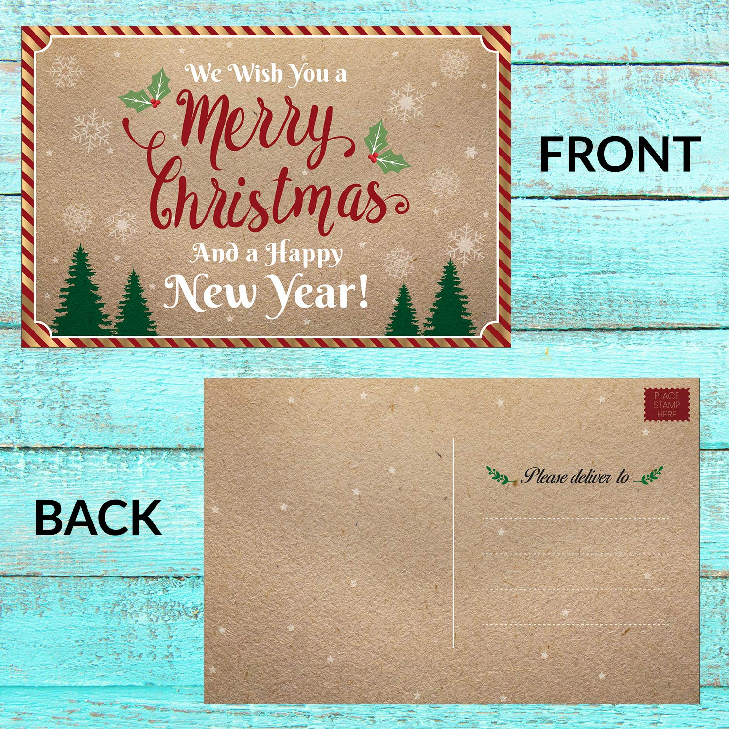 Amazon 50 Christmas Cards Happy Holiday and Happy New Year