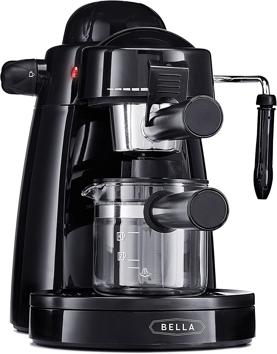 BELLA (13683) Personal Espresso Maker with Built-in Steam Wand, Glass Decanter, Permanent Filter & 5 Bar Pressure, Black