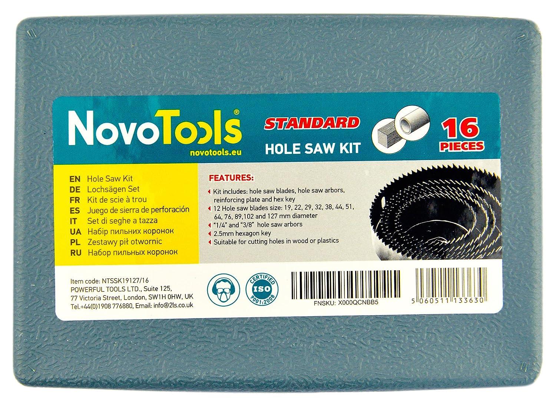 16 unidades, 19-127 mm NOVOTOOLS Kit de perforaciones para cortar agujeros en madera o pl/ásticos