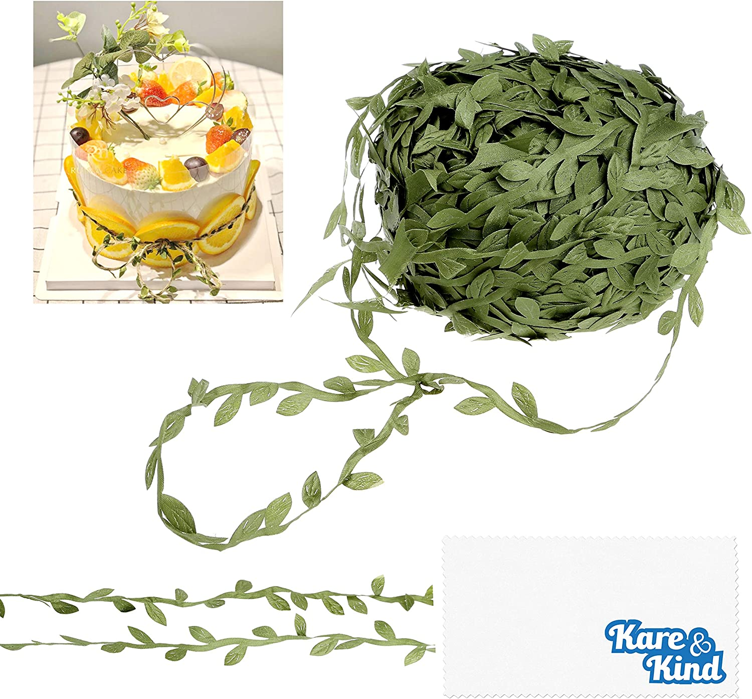 Kare & Kind Artificial Vine - 80 Meters (262 Ft.) - Green Faux Hanging Plant Leaves - for Home, Office, Party, Wedding and Christmas Decoration - DIY, Arts, Crafts - Wall Decor, Ribbon