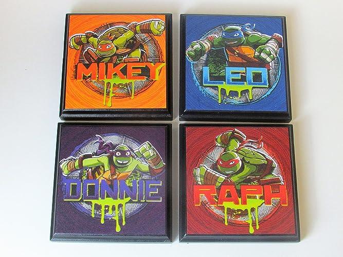 Teenage Mutant Ninja Turtle Set  2 Room Wall Plaques   Set of 4 TMNT Boys. Amazon com  Teenage Mutant Ninja Turtle Set  2 Room Wall Plaques