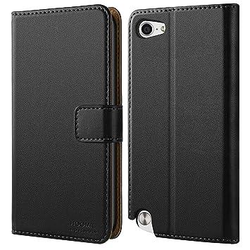 HOOMIL iPod Touch Hülle, Premium Leder Tasche Flip Case Schutzhülle für Apple iPod Touch 5/6 Generation Hülle (Schwarz)