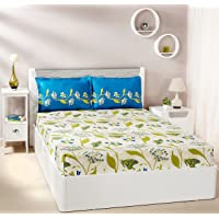 Solimo 144 TC Cotton Double Bedsheet with 2 Pillow Covers