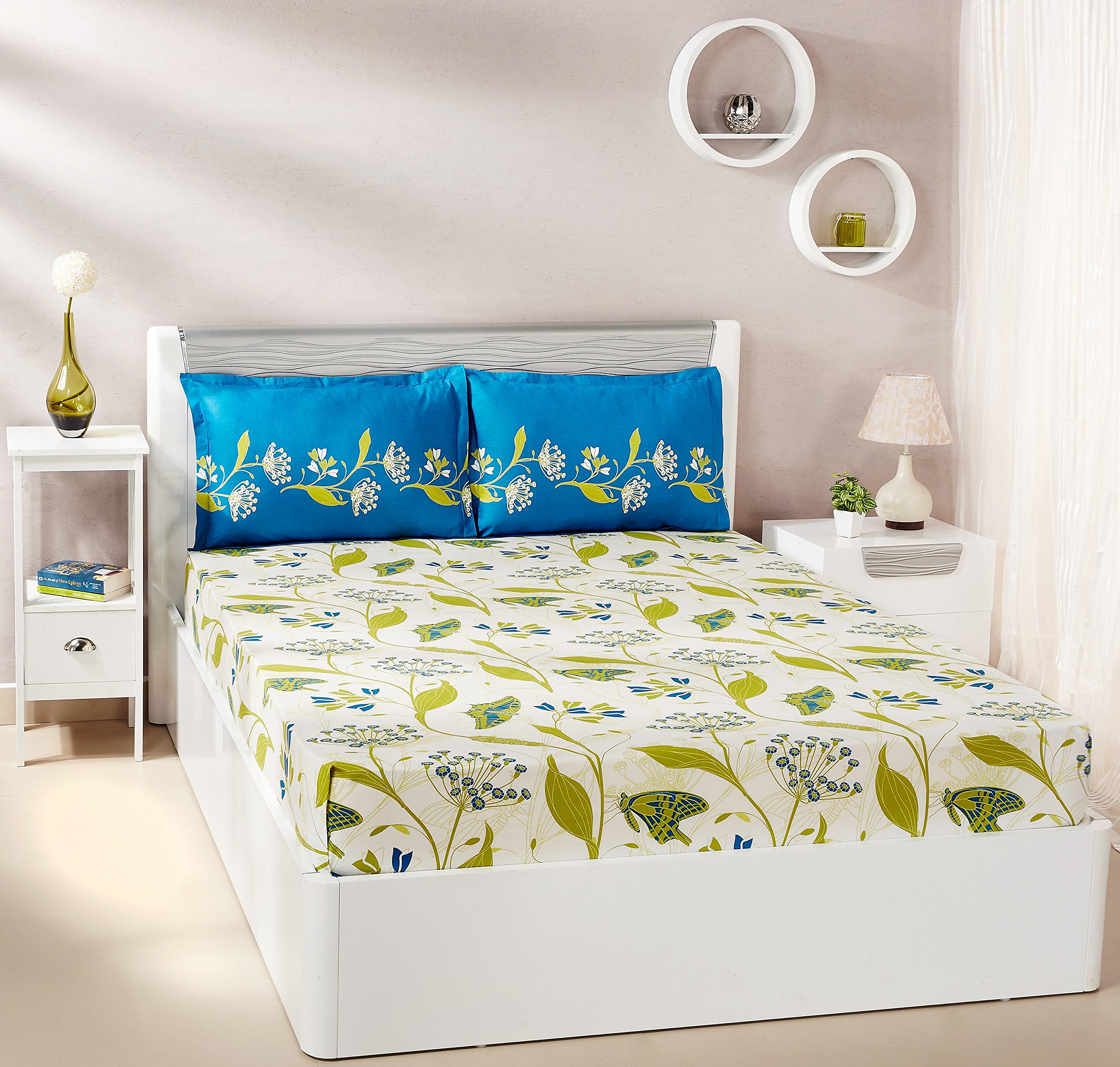 Amazon Brand - Solimo Lily Bloom 144 TC 100% Cotton Double Bedsheet with 2 Pillow Covers, Green product image