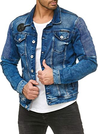 Jeansjacke Style Denim Blue Jacket M6058 Biker Jeans Red Bridge Jacke Blau Herren PkXiOZu