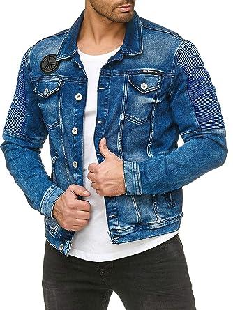 purchase cheap 7503b 6e99e Redbridge Giacca di Jeans da Uomo Elegante Denim Motociclista da Uomo Blu