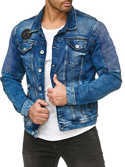Red Bridge Herren Jeansjacke Biker Style Jeans Jacket Blue Denim Jacke Blau M6058