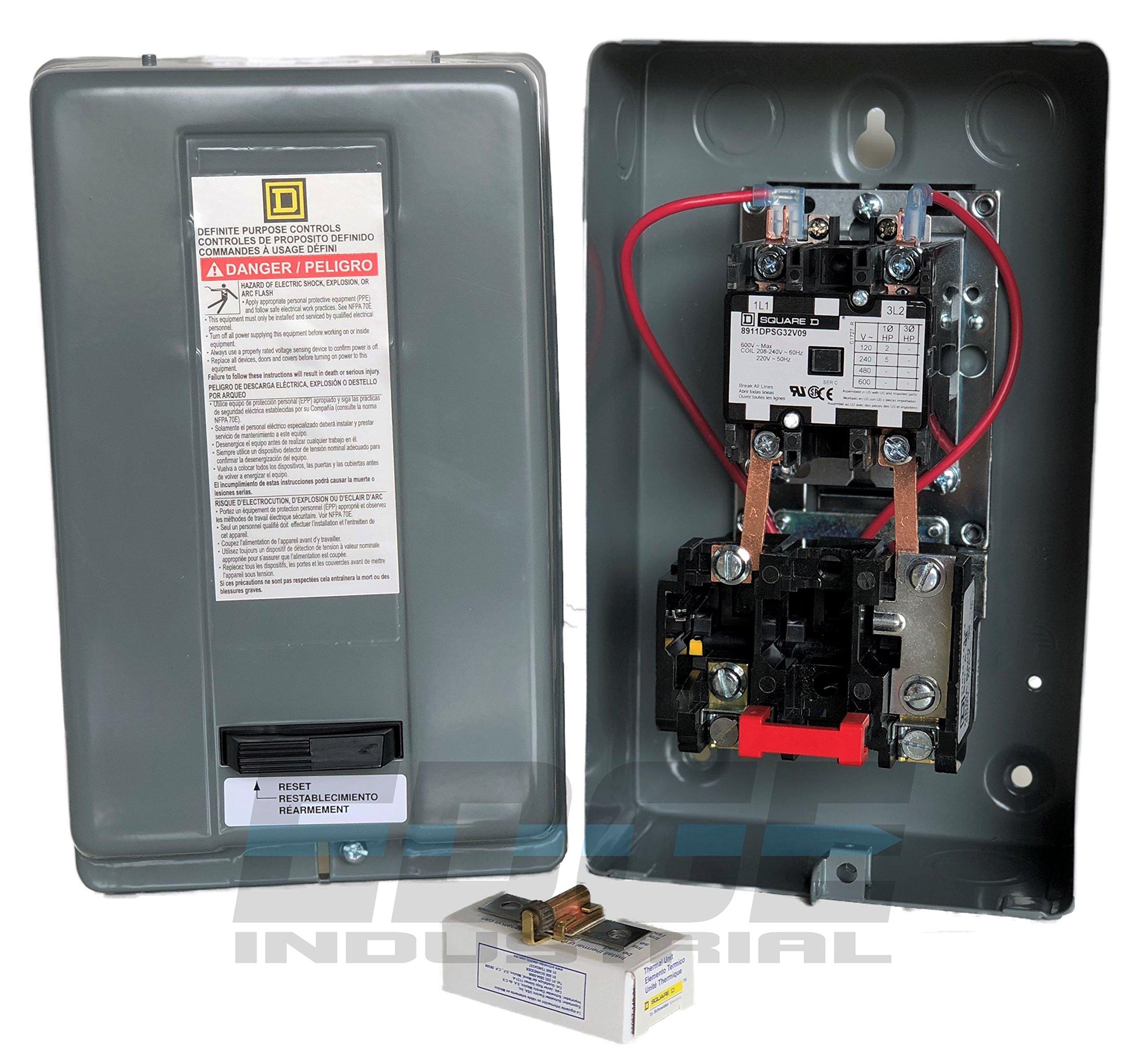 5HP 1-Phase 230V Definite Purpose Motor Starter for Electric Motor from SQUARE D, Model 8911DPSG32V09, 8911DPSO32V09