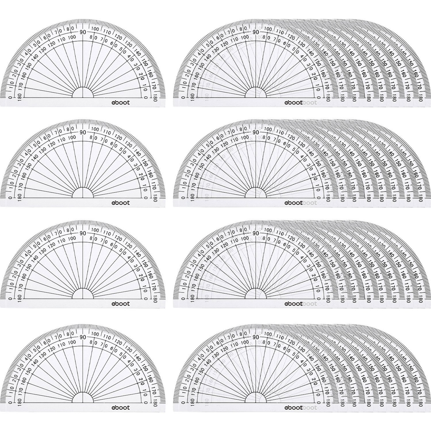 eBoot 36 Pack Plastic Protractor Math Protractors 180 Degrees Protractors for Angle Measurement Student School Office Supply, 4 Inches, Clear by eBoot