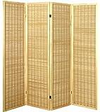 Haku Möbel 34367 Paravent Bois Massif Hévéa/Bambou Nature/Bambou 2 x 182 x 178 cm