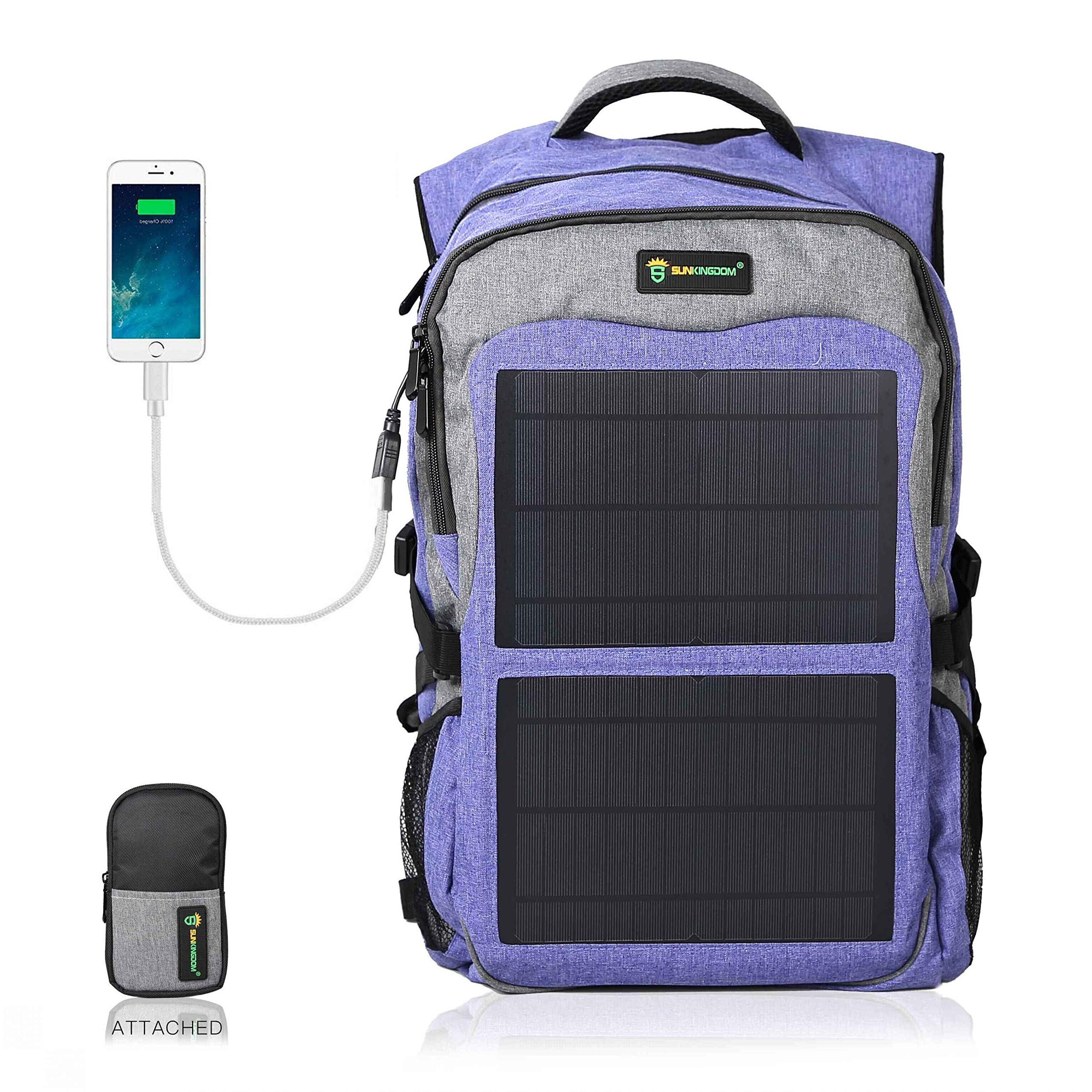 SUNKINGDOM portable hiking Powered Waterproof Anti-theft Durable Laptop solar Backpack,highest 12W(Watts) Solar Panel Charge with two USB voltage controller for Smart Cell Phones and Tablets by SUNKINGDOM