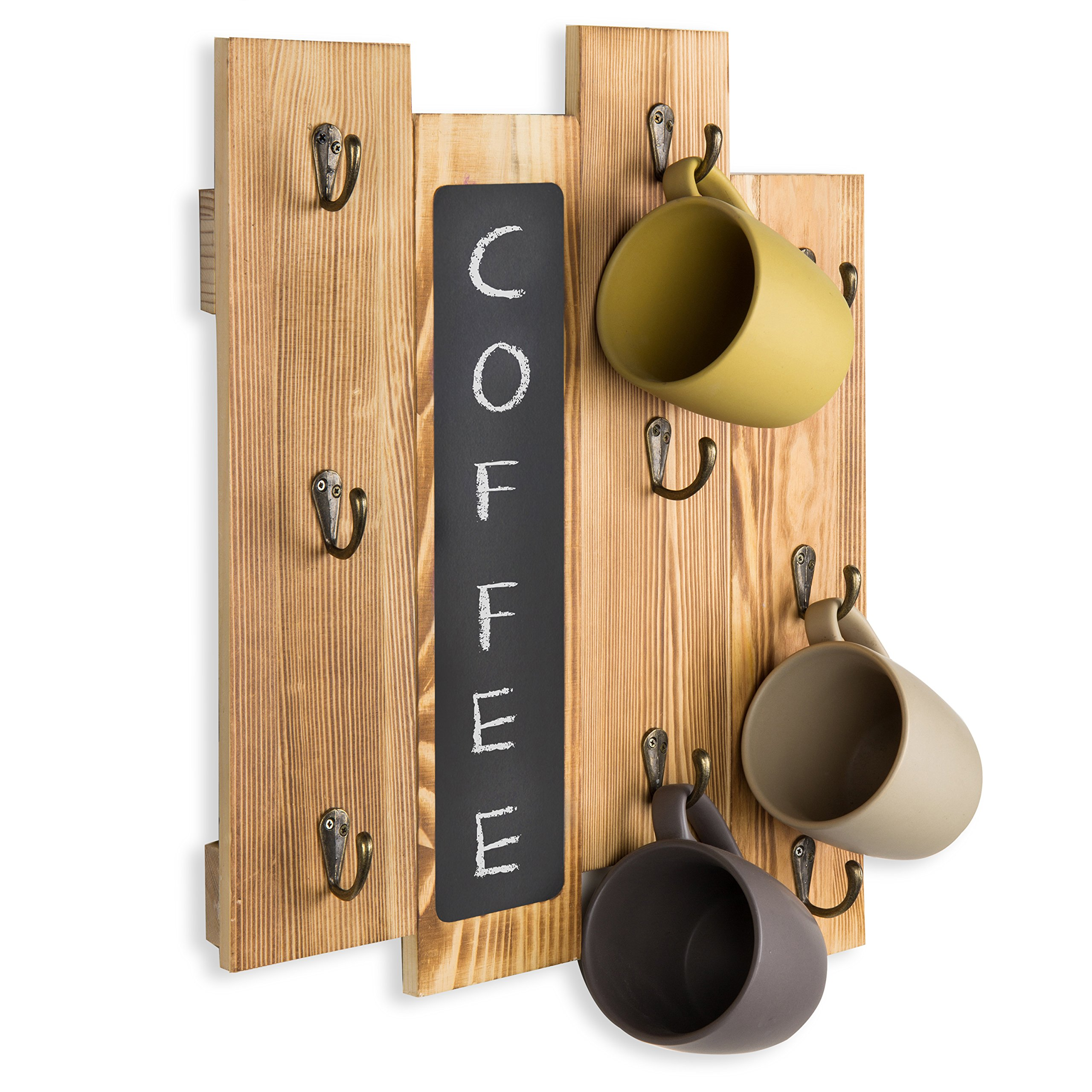 MyGift 9-Hook Torched Wood Wall-Mounted Coffee Mug Rack with Chalkboard by MyGift