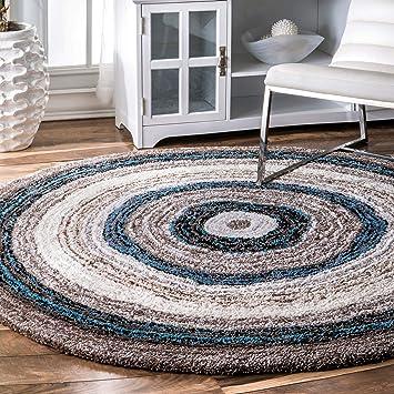Nuloom Classie Hand Tufted Shag Area Rug 8 Round Blue Multi Furniture Decor