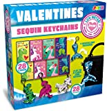 JOYIN 28 Pack Valentines Day Gift Cards with Gift Glitter Flip Sequin Keychain for Valentine's Classroom Exchange Prizes…
