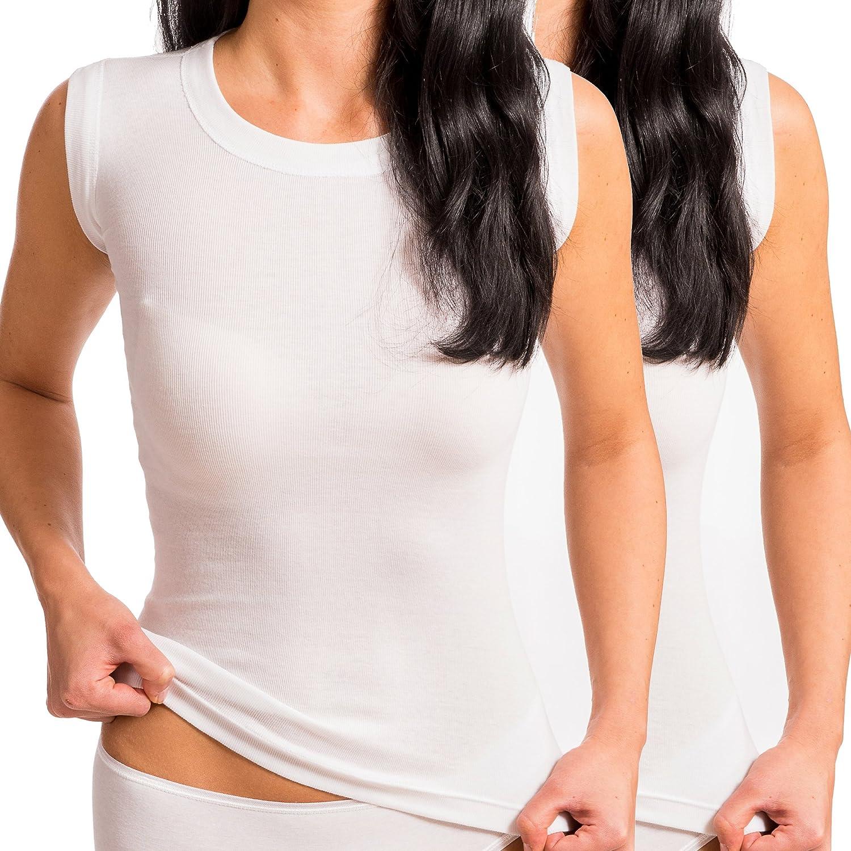 HERMKO 99384910 2er Pack Korsett Unterhemd mit Rundhals-Ausschnitt ohne Seitennaht aus 100/% Bio-Baumwolle