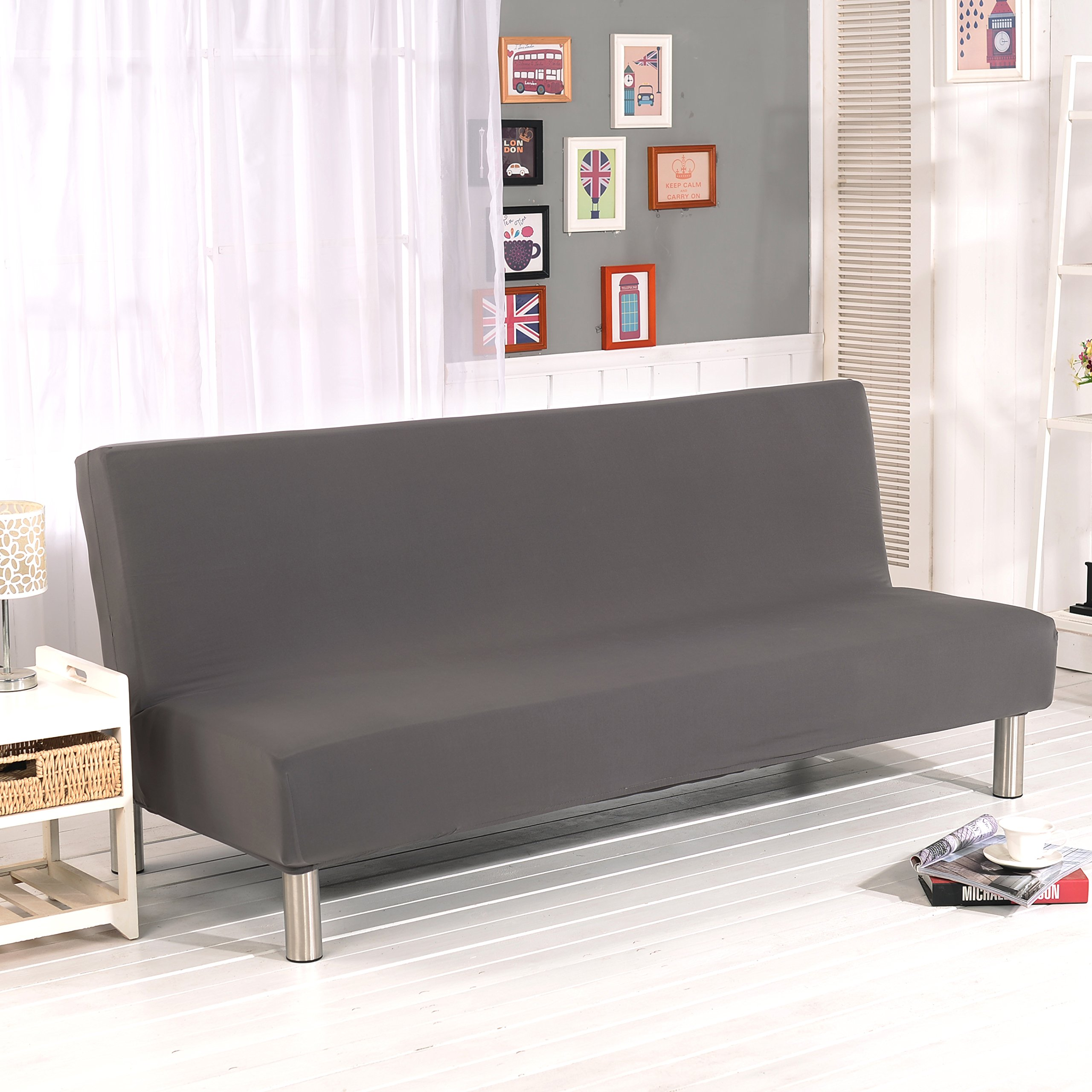 WATTA Solid color Futon Cover Slipcover Couch, Polyester Spandex stretch Bed Cover Replacement,Futon Mattress Cover, Futon mattress protector - Grey - 51'' x 82'' x 12''