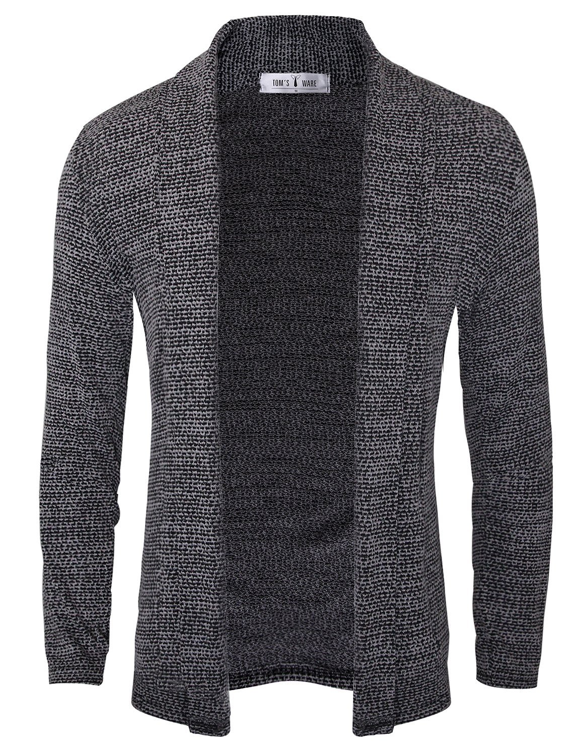 Tom's Ware Mens Classic Slim Fit Knit Open-Front Cardigan TWNR210G-1508-GRAY-US XS/S(Tag Size S)