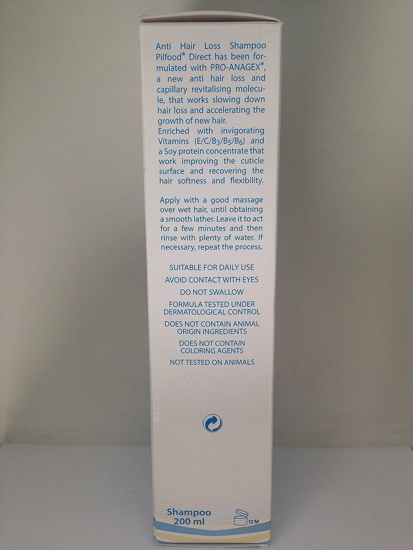 PilFood - champú anticaída pérdida con Pro Anagex y vitaminas 200 ml -: Amazon.es: Salud y cuidado personal