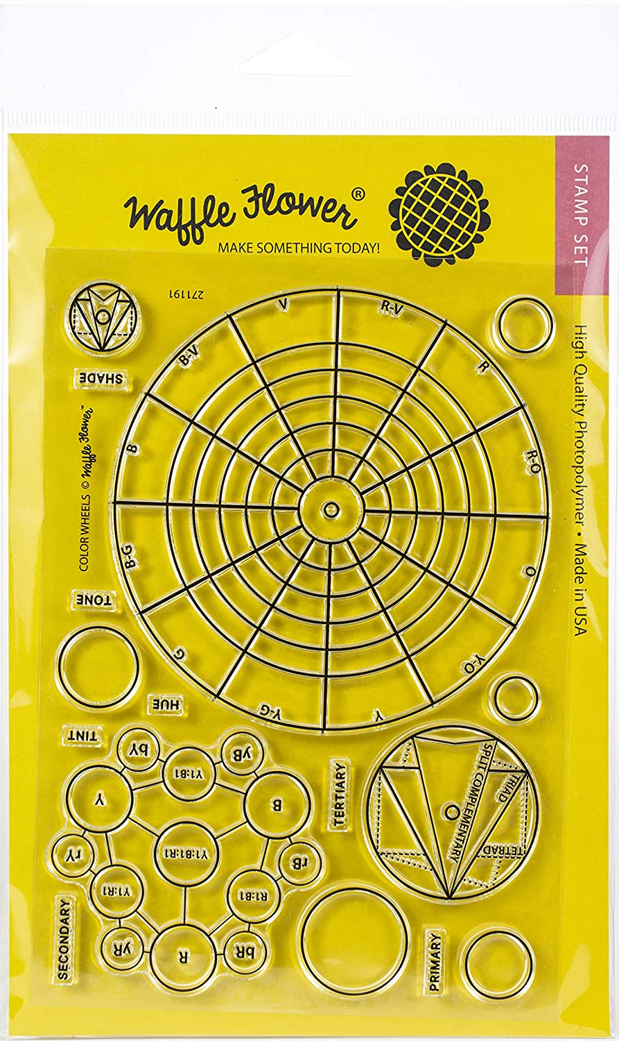 Waffle Flower Crafts 271191 Clear Stamp 5X7-Color Wheels