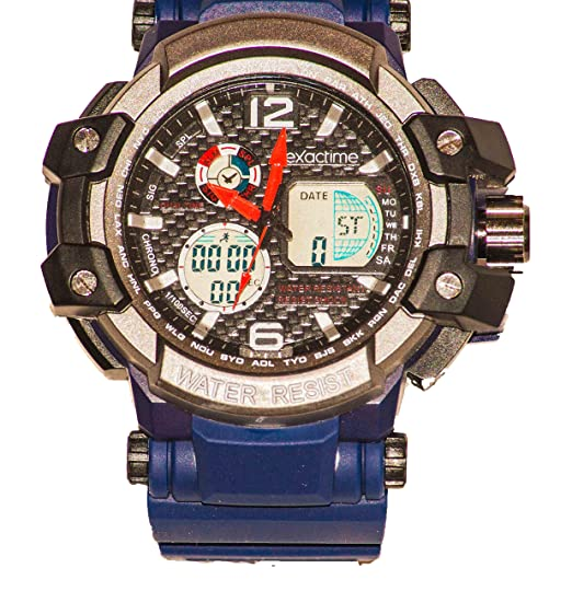 EXACTIME 1420 AZUL - Reloj Deportivo resistente al agua Unisex - Análogo/ Digital: Amazon.es: Relojes