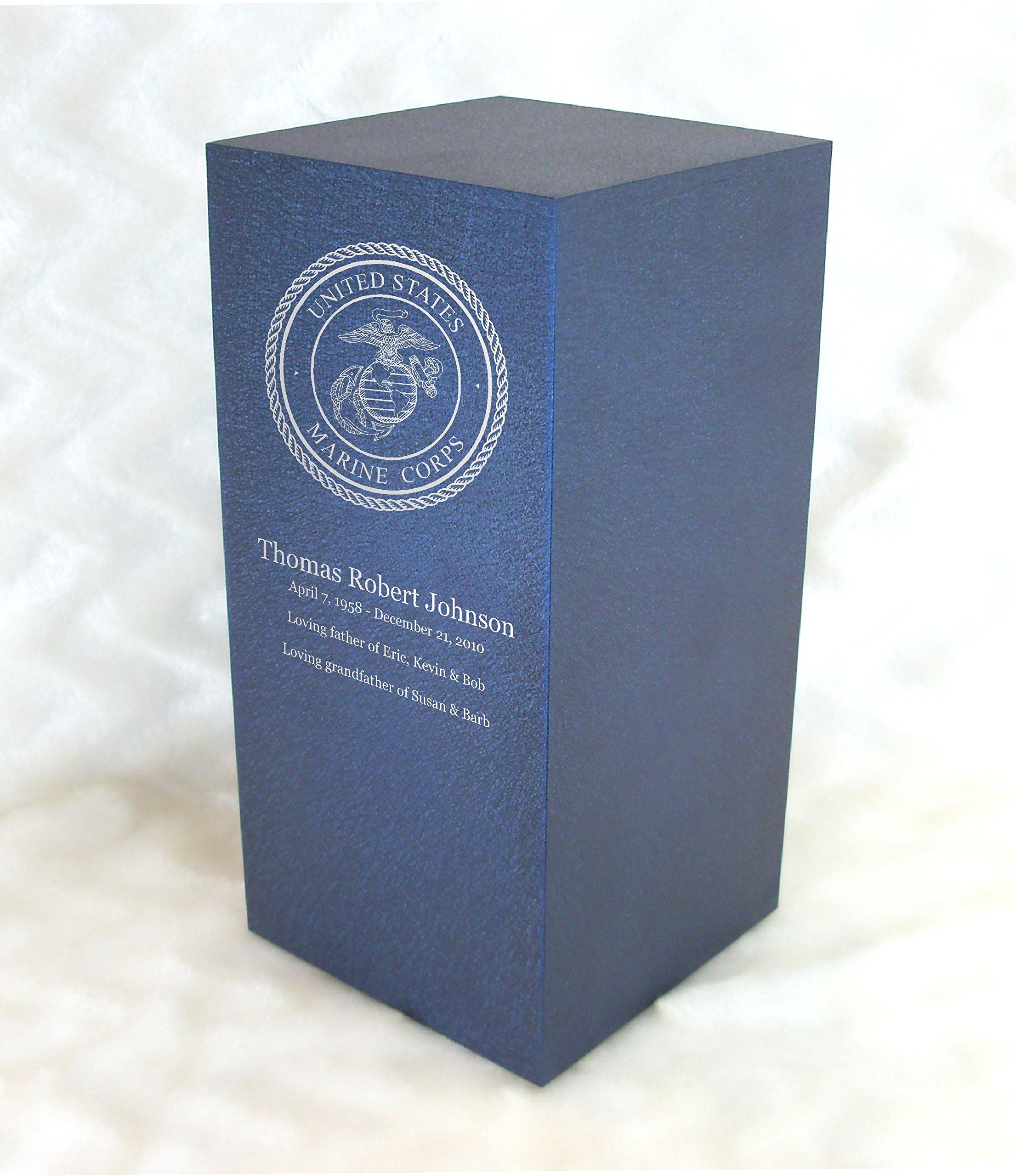PERSONALIZED Engraved Marine Corps Cremation Urn for Human Ashes - Made in America - Handcrafted in the USA by Amaranthine Urns, Adult Funeral Urn - Eaton DL- up to 200 lbs living weight Deep Sea Blue
