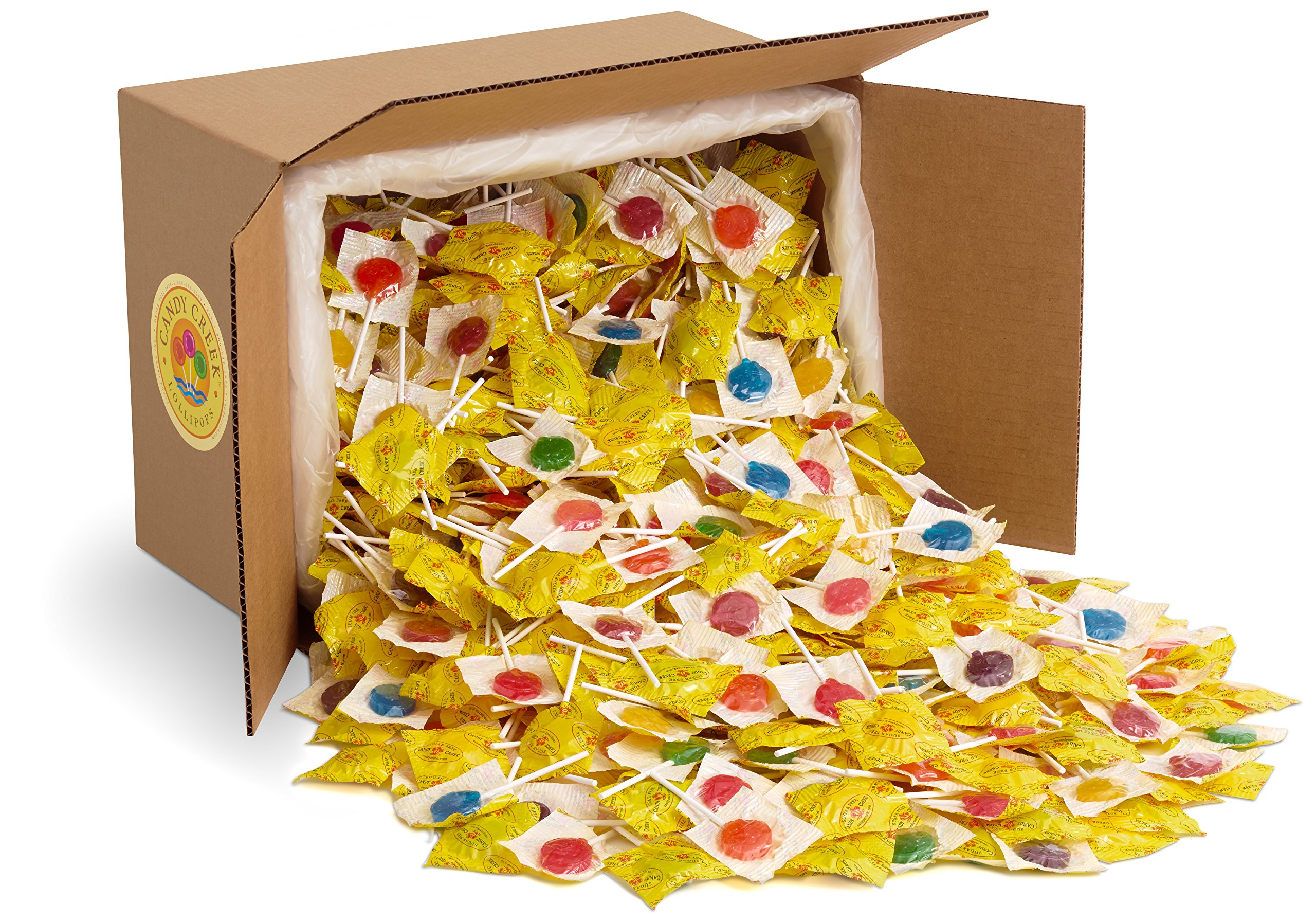 Sugar Free Fruit Lollipops by Candy Creek, Bulk 15 lb. Carton, Strawberry, Watermelon, Concord Grape, Blueberry Blast, Lemonaid, Tangerine, Red Raspberry, and Sour Apple by Candy Creek Lollipops