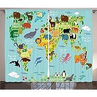Orange Venue Çift Kanatlı Fon Perde, Çocuklar Için, Kumaş, Hayvan Haritası Desenli, 120 X 220 cm