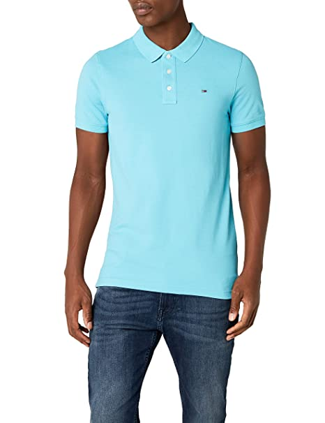 Tommy Jeans Hombre Basic Polo Manga Corta Normal Azul (Maui Blue ...