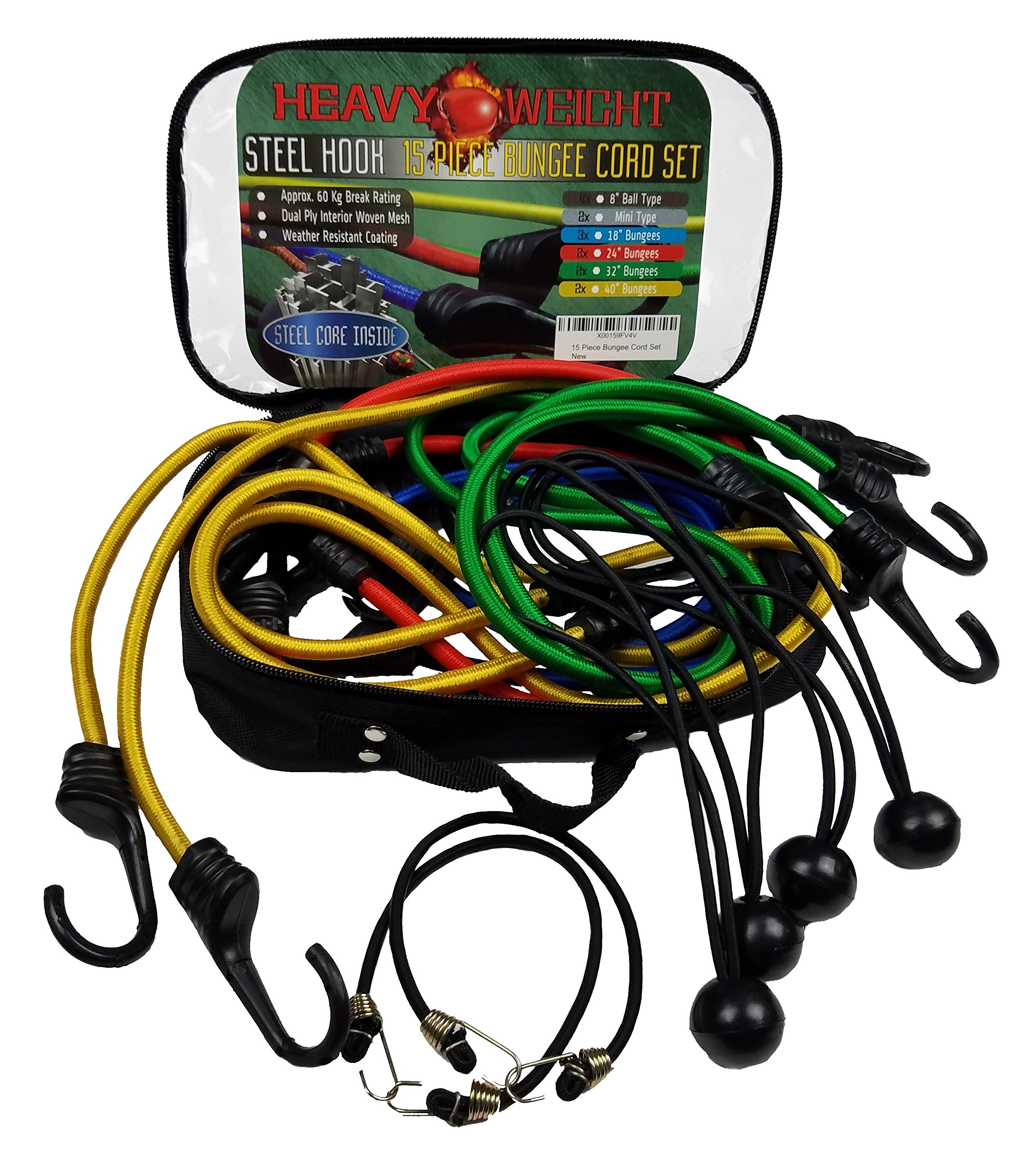 15 Piece Bungee Cord Set in Weatherproof Bag - Weather Resistant for Cargo, Camping, RVs, Trunks, Luggage Racks - Elastic Shock Cord, Ball Bungees, Tarp Tie Downs
