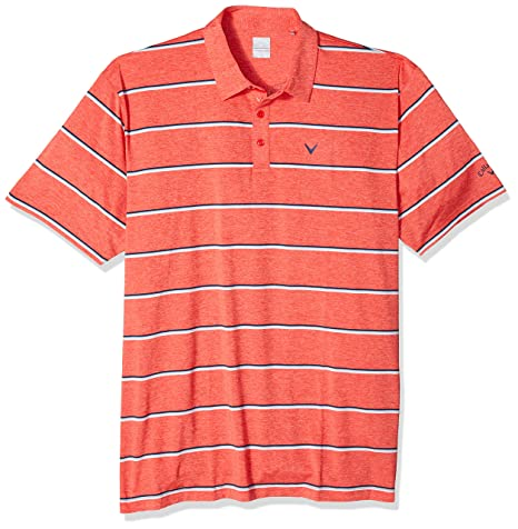 Callaway Short Sleeve Classic Roadmap Stripe Polo, Bittersweet ...