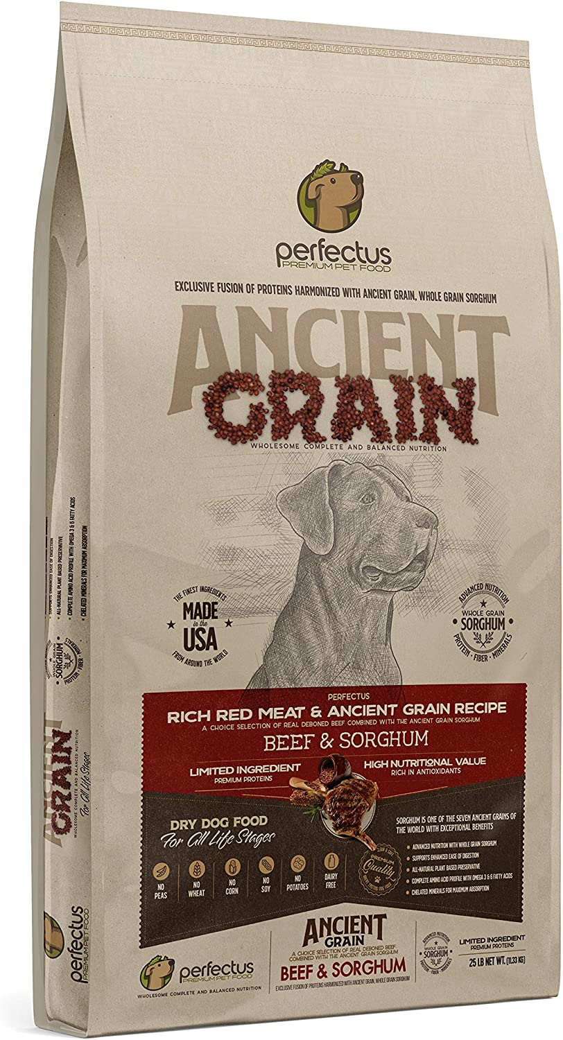 Perfectus Rich Red Meat and Ancient Grain Recipe - Natural, Non GMO, High Protein Premium Dry Dog Food 25 lbs Bag