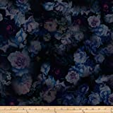 Telio Ponte Floral Print Blue Fabric By The Yard